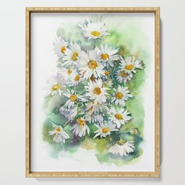 Watercolor chamomile white flowers Serving Tray