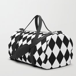 Classic Black and White Harlequin Diamond Check Duffle Bag