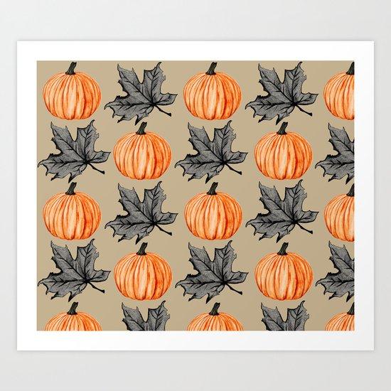 Pumpkin in the Fall Leaf Art Print