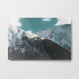 Snowy Mountains Under Teal Sky - Alaska Metal Print