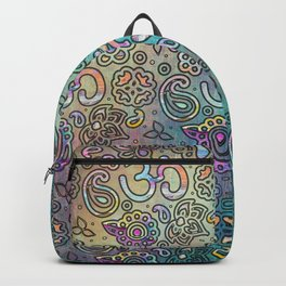 Pastel  Turquoise watercolor  OM symbol pattern Backpack