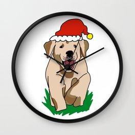 Cute Christmas Dog Santa Claus Doggy Happy Holidays Family Merry Dogmas Merry XMas Wall Clock