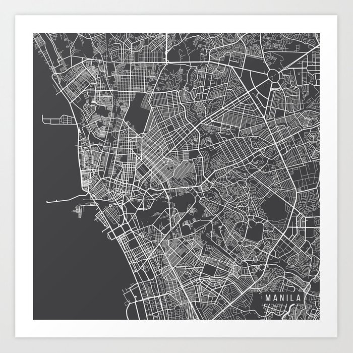 Manila map philippines gray art print by mainstreetmaps society6 manila map philippines gray art print publicscrutiny Images