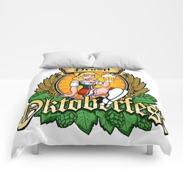 Oktoberfest German Prost Sexy Pin Up Girl Beer Label Comforters