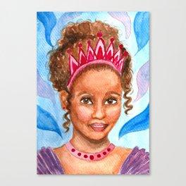 Little Princess - Watercolor Portrait Painting Canvas Print
