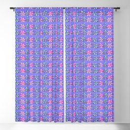 Violet Stripes with Flowers Blackout Curtain