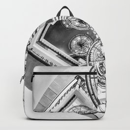 Abstract Perspective // Black and White Lighting Ornamental Chandelier Stairway View Backpack