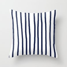 Simply Drawn Vertical Stripes Nautical Navy Blue on White Throw Pillow