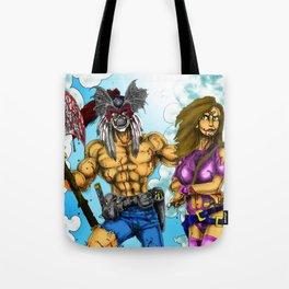 Beast Man an Warrior Girl Tote Bag