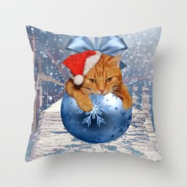 Christmas Cat and Snow Throw Pillow