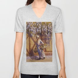 Classical African-American Masterpiece 'A Vendor' by Edwin Harleston Unisex V-Neck