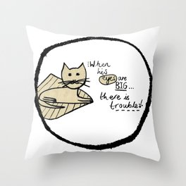 Cat Trouble Throw Pillow