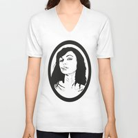 smoking V-neck T-shirts featuring Smoking by Anna McKay