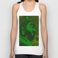 buddah Tank Tops featuring Buddah Head 02; Green  by Kether Carolus