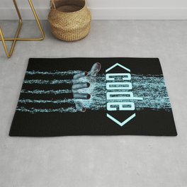 Code / 3D render of binary data flowing on to human hand Rug