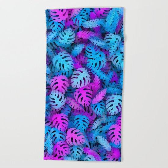 Blue pink tropical leaves Beach Towel