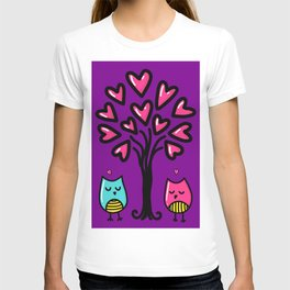 Two birds in love, sketchy doodles T-shirt