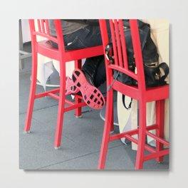 Sitting Cross Legged On The Red Chair Metal Print
