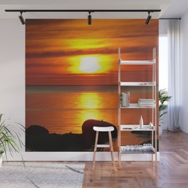 Hazy Seaside Sunset Wall Mural