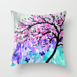 cherry blossom with Ulysses butterflies Throw Pillow