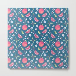 Orange Blossoms on a Blue Background Metal Print