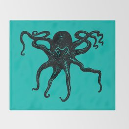From the Deep Aqua - Octopus by Seasons Kaz Sparks Throw Blanket