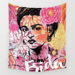 Frida Kahlo floral art print Wall Tapestry
