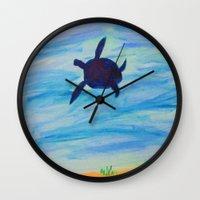 sea turtle Wall Clocks featuring Turtle by Lissasdesigns