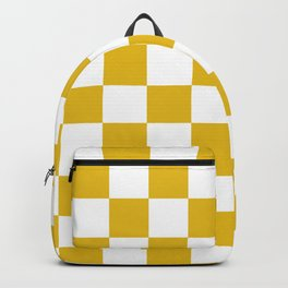 Mustard Yellow Checkers Pattern Backpack