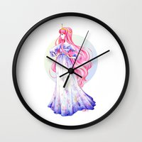 princess bubblegum Wall Clocks featuring Princess Bubblegum by Maëlle Rajoelisolo