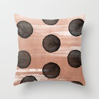 rose gold Throw Pillows featuring rose gold #2 by LEEMO