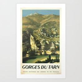 cartel gorges du tarn societe nationale des chemins de fer francais campagne Art Print