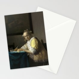 A Lady Writing Oil Painting by Johannes Vermeer Stationery Cards
