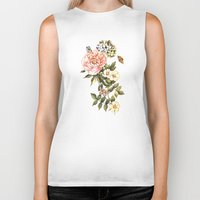 vintage floral Biker Tanks featuring Vintage floral watercolor background by Anna Yudina