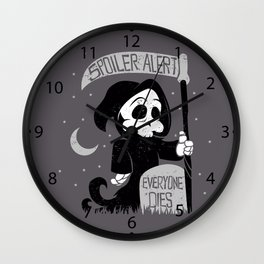 Cute cartoon grim reaper with scythe  Wall Clock