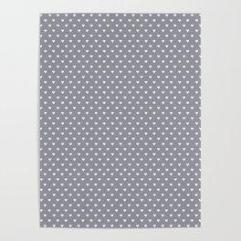 Mini Hearts on Grey Poster