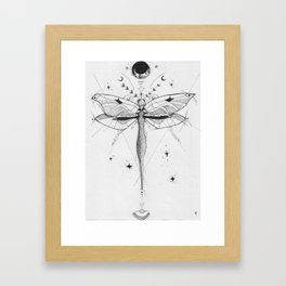 Dragonfly Tattoo Style Black and White Design Framed Art Print
