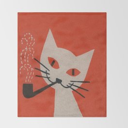 Retro White Cat Smoking a Pipe Throw Blanket