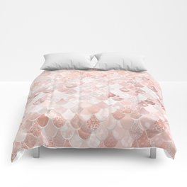 Mermaid Scales Pattern, Blush Pink and Rose Gold Comforters