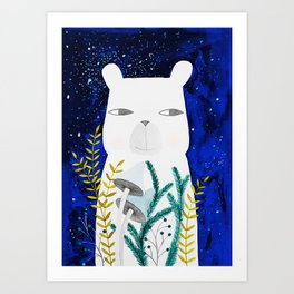 polar bear with botanical illustration in blue Art Print