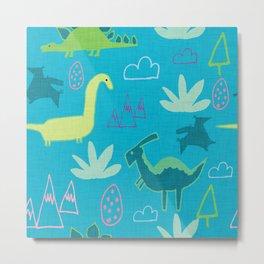Dino Fun land Blue Metal Print