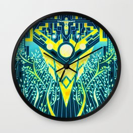The Reaper War: Control Ending - Quarian Tapestry Art Style (blue/gold ver.) Wall Clock