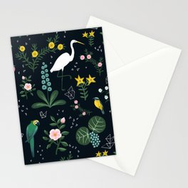 """""""Tropical Birds and Flowers"""" on Midnight Blue by Bex Morley Stationery Cards"""