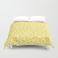eggs Duvet Covers featuring Fried Eggs by Alisa Galitsyna
