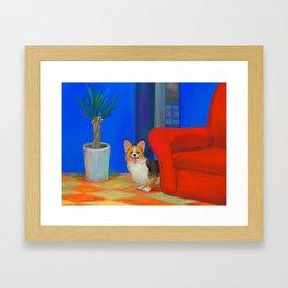 Corgi Smile Framed Art Print