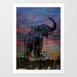 Naughty Elephant Squirts Water Art Print