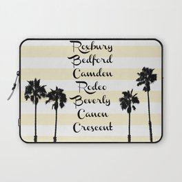 Beverly Hills Street Names Palm Trees Yellow Stripes Laptop Sleeve