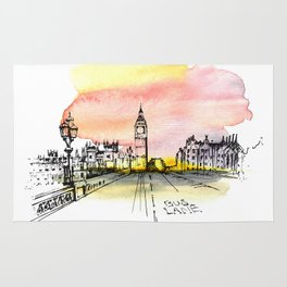 London, Big Ben. Watercolor and ink. Rug