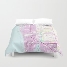 Vintage Map of Naples Florida (1958) Duvet Cover