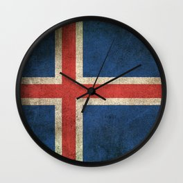 Old and Worn Distressed Vintage Flag of Iceland Wall Clock